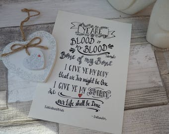 Outlander inspired art print, Blood of my Blood, Jamie and Claire marriage vows, Outlander gift, Outlander collectible, Outlander quote