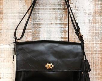 Medium leather bag, black crossbody bag, small woman bag, small messenger purse