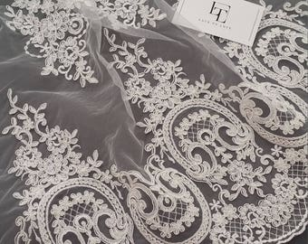 Ivory lace fabric, Embroidered lace, French Lace, Wedding Lace, Bridal lace, White Lace, Veil lace, Lingerie Lace, Alencon Lace EVS130C