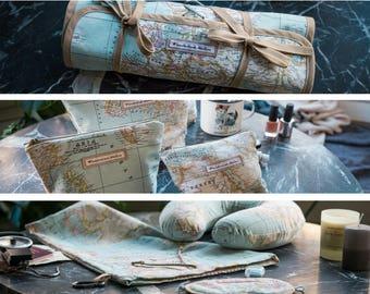 Wanderlust Travel Gear kit: 3 Make-up bags + Neck Pillow + Sleeping Mask +Earplugs + Bag+ Travel Organizer Roll - Gift for travelers