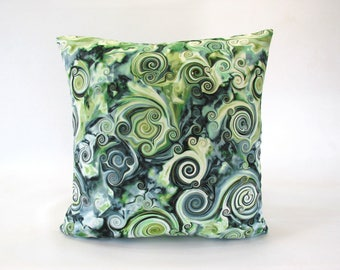 cotton-paint swirl print-cushion cover-pillow cover-natural white-green shades-duck egg blue-black and gold accent-lumbar-square
