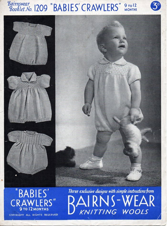 baby rompers knitting pattern PDF baby 3 ply romper suit 3ply