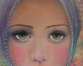 Original Mixed Media Fantasy Girl Fairy Butterfly Painting By Sujati Art Studio