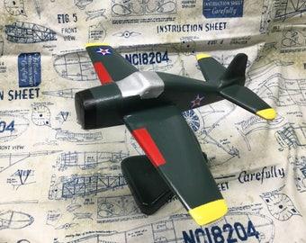 Handcrafted wooden Grumman F4F Hellcat toy plane