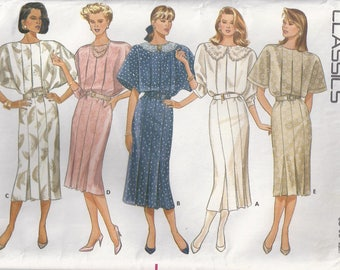 Straight Pleated Dress Jewel Neckline Or Collar Variations Shoulder Pads Back Zipper Size 8 10 12 Sewing Pattern 1987 Butterick 5726