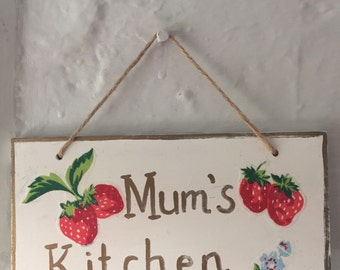 Cath Kidston Strawberries Mum's Kitchen Wall Plaque Wall Hanging Sign New shabby chic