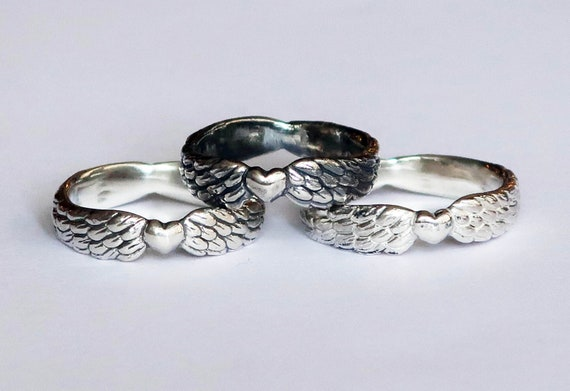 Winged Silver Heart Ring
