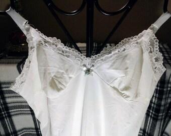 Lovely Vintage Retro Slip Dress White