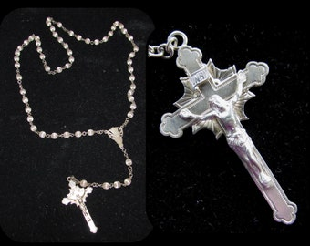 Vintage Sterling Silver Catholic Rosary w/ Ribbed Beads, Signed W.E.