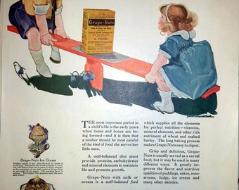 1923 Grape Nuts Cereal Ad Children on Teeter Totter Lucile Patterson Marsh Art