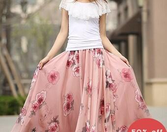 Boho skirt chiffon, Chiffon skirt, floral skirt, maxi skirt, long skirts for women, elastic waist skirt, handmade skirt, summer skirt 936