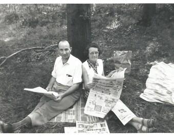 "Vintage Snapshot ""Sunday Paper"" Comfortable Couple Share Sunday Paper Original Old Photo 1960 Found Vernacular Photo"