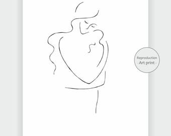 Mother with baby art print. Black and white drawing. Minimalist line art.