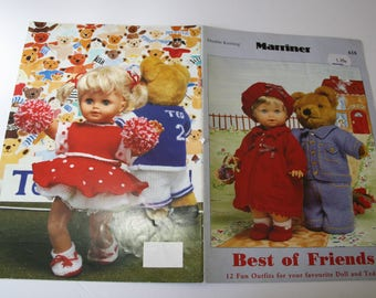 Doll and Teddy Bears Clothes Knitting Patterns Book-NOT a pdf! Marriner 618, EASY Knitting for Dolls -Bears, 12 patterns, Best of Friends