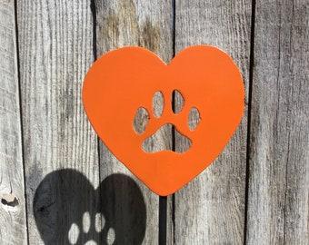 Heart w/dog paw print garden stake