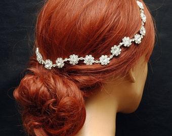Silver Bridal Hair Piece Wedding Hair Vine Flower Bridal Headband, Beach Wedding Headpiece, Bridal Crown Boho Headband, Wedding Halo,