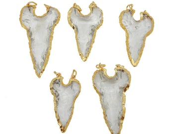 10% off Glass Shark Tooth Double Bail Pendant with Electroplated 24k GOld Edge (S99B1-05)