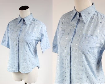 1950s Powder Blue Cotton Eyelet Blouse