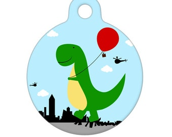 Pet ID Tag - Happy Dino Path of Destruction Pet Tag, Dog Tag, Cat Tag, Luggage Tag, Child Id Tag