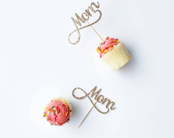 Set of 12 Mom cupcake toppers in cursive font, ideal for mother's day, mom's birthday.