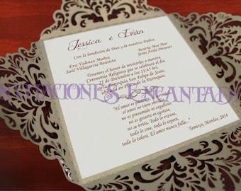Custom Four Fold Wedding Invitations