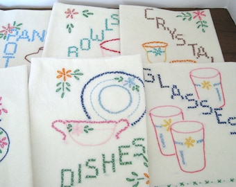 Vintage Dish Towel Set of 7 - Kitchen Tea Towels - Hand Embroidered - Cross Stitch Service Ware - Retro Kitchen Decor