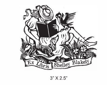 Girl Reading with Dacshund and Crow Personalized Ex Libris Library Stamp  Rubber Stamp D27