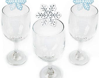 Winter Wonderland - Wine Markers - Shaped Wine Glass Charms - Drink Markers - Wine Tags - Snowflake Holiday Party & Winter Wedding - 24 Ct.