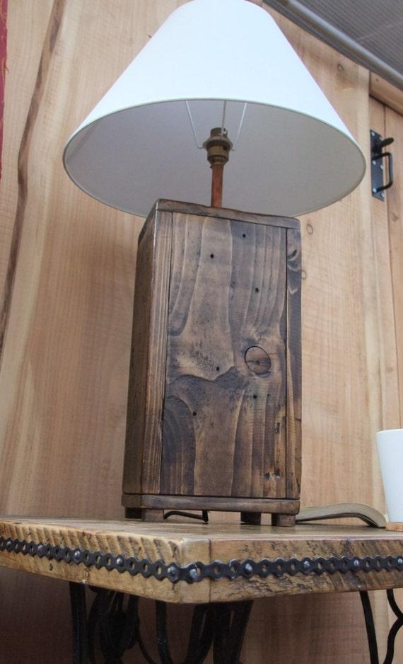 Tall Rustic Wood Lamp Base Chunky Reclaimed Wood Lamp Made