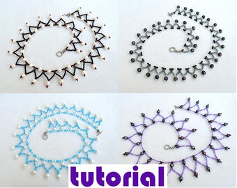 Tutorial: Easy collar necklace or bracelet with pearls Beading instructions Beading pattern Necklace Bracelet tutorial PDF tutorial T6