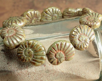 Green Picasso Czech Glass Nautilus Shell Beads Olive Opaque 16x14mm (6)