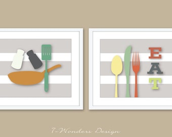 "Modern Kitchen Art Prints -EAT Frying Pan and Utensils- (2) 5x7, 8x10 or 11"" x 14"" // Beige, Multi-Color // Modern Kitchen Art - Unframed"