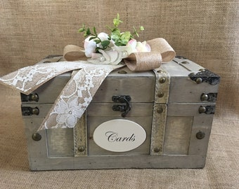 Pick your ribbon&flower color! Medium Shabby Chic Cream Wedding Trunk, Wedding Card Holder, Wedding Chest, Wedding Suitcase, Rustic Wedding