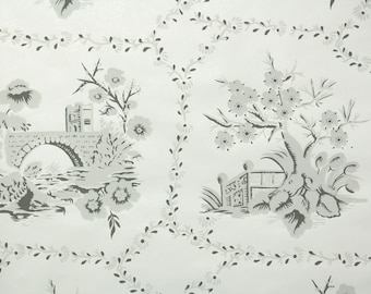 1950s Vintage Wallpaper by the Yard - Scenic Wallpaper Gray and White Bridges and Trees Nancy McClelland