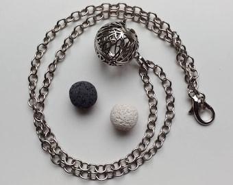 Diffuser Locket, Tree of Life, silver chain, white and black lava rocks. 24 inch.