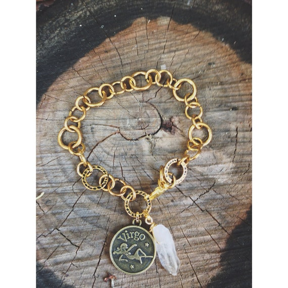 Zodiac Raw Quartz bracelet. Aries Taurus Gemini Cancer Leo Virgo Libra Scorpio Sagittarius Capricorn Aquarius Pisces
