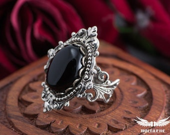 Gothic Ring with Black Onyx -  Ornate Victorian Ring - Victorian Gothic Jewelry