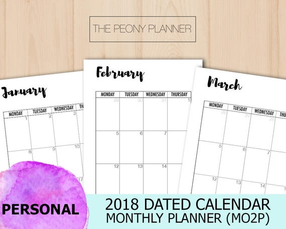 2018 Calendar Personal Printable DATED MONTHLY Planner