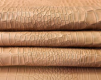 Brown Snake Print Leather fabric brown crocodile skin leather print natural leather pelt piece brown snake skin leather, BISCUIT 468, 0.8mm