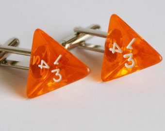 Transparent Orange 4 Sided Dice Cufflinks d4 Free gift bag Great for The Groom and Groomsmen