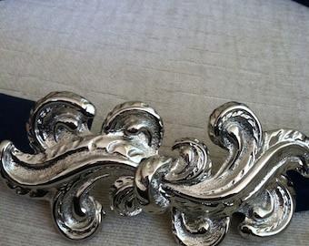 Regal Silver Swirl Vintage MIMI DI Buckle with Blue Suede Belt S/M/L Adjustable