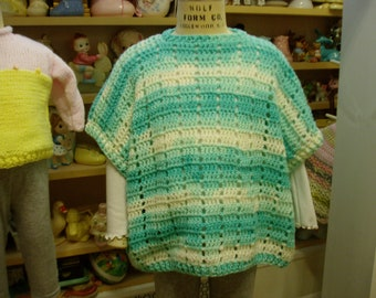 Girl's Pretty Aqua Pullover Sweater Poncho, Lightweight & Comfy, Girl's size 6-8