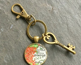 Boston Keychain Bronze with Ring Swivel Clasp and Key Vintage Red Map