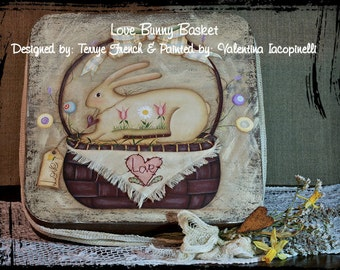 Love Bunny Basket by Valentina Iacopinelli for Painting with Friends. E-Pattern