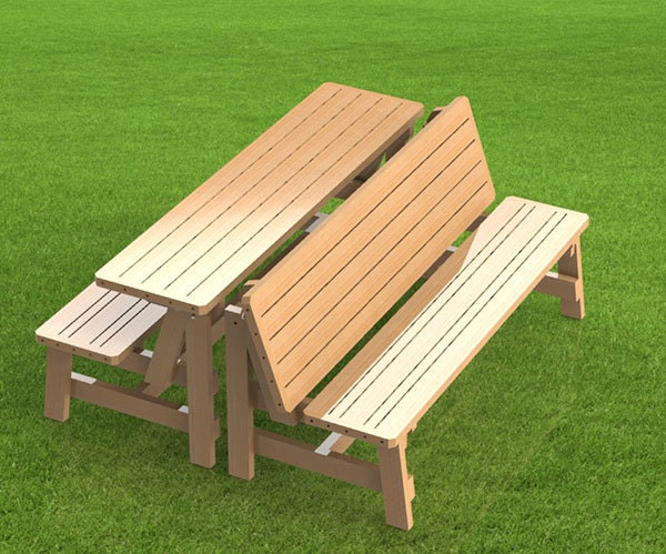 Convertible  Ft Bench To Picnic Table Combination Building Plans