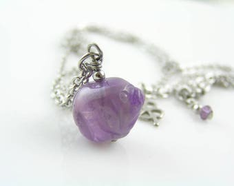 Amethyst Necklace, Carved Amethyst Pig Necklace, Carved Gemstone Pendant, Amethyst Pendant, Good Luck Necklace, Luck Jewelry, N1229