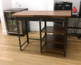 Walnut Industrial Engineering Work Station Desk Table with shelves