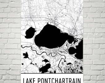 Lake Pontchartrain Louisiana, Lake Pontchartrain LA, New Orleans Map, Louisiana Decor, Lake Map, Pontchartrain Lake Art, Cottage Decor