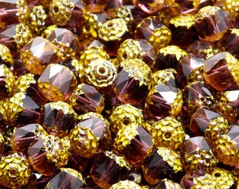 25pcs Czech Fire-Polished Faceted Glass Bols Cathedral Beads Round 8mm Amethyst Yellow Fired Colour