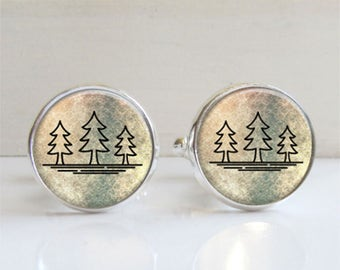 Mens Cufflinks - Outdoorsman Gift - Tree Cufflinks